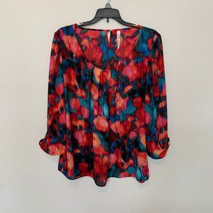 NY COLLECTION SCOOP NECK MULTI-COLOR BLOUSE